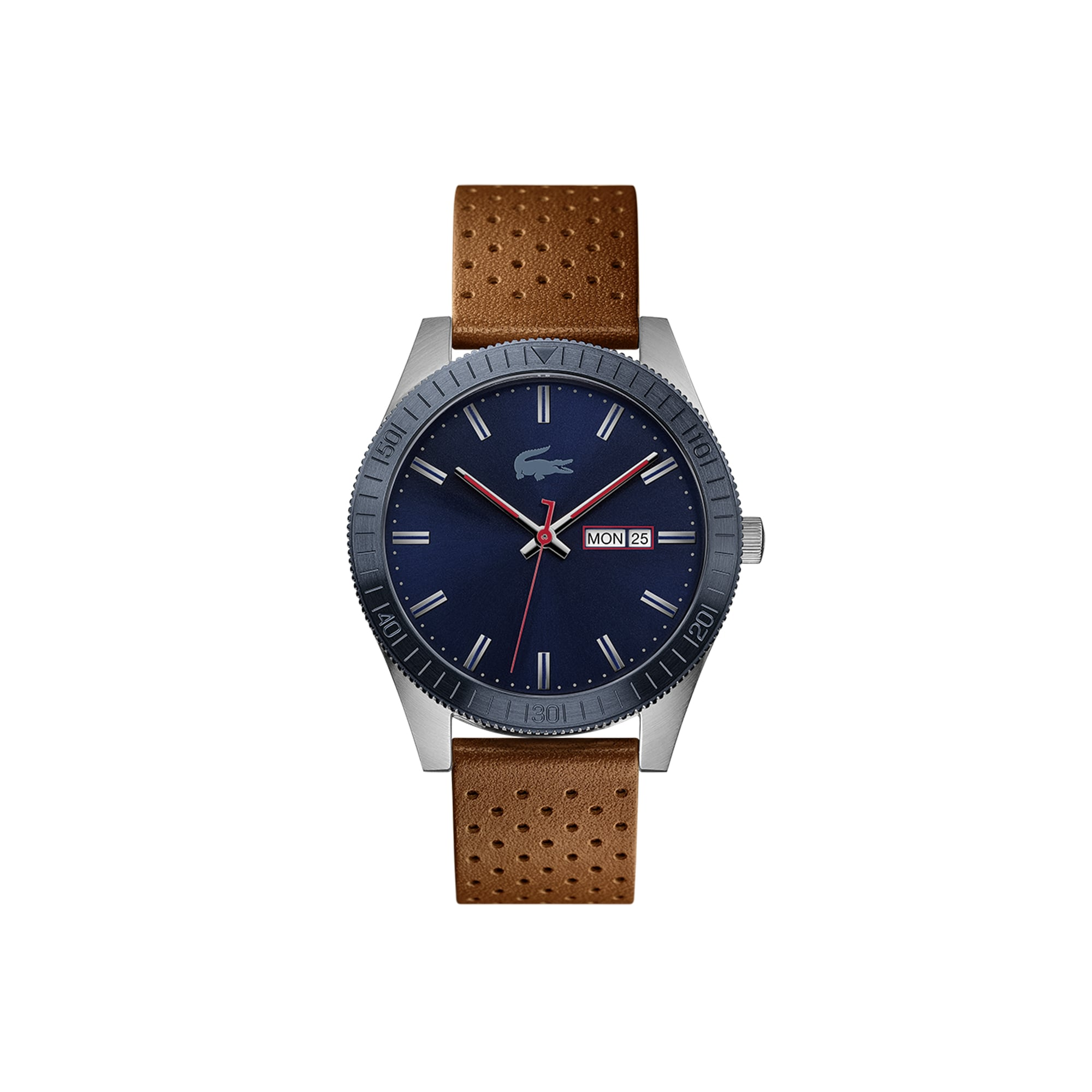 Men's Lacoste Legacy Watch with Brown Punched Leather Strap
