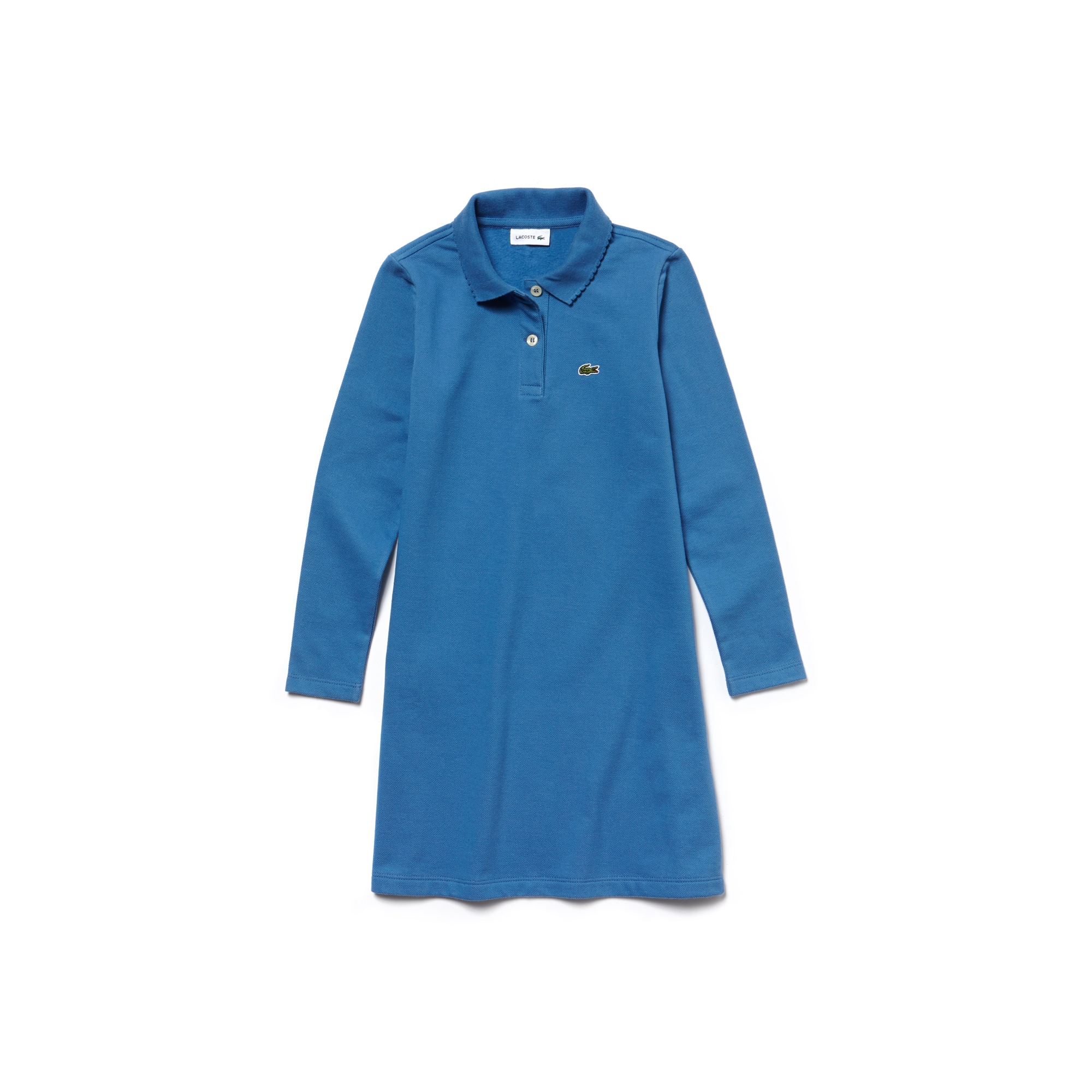 Girls' Two-Ply Petit Piqué Flared Polo Dress