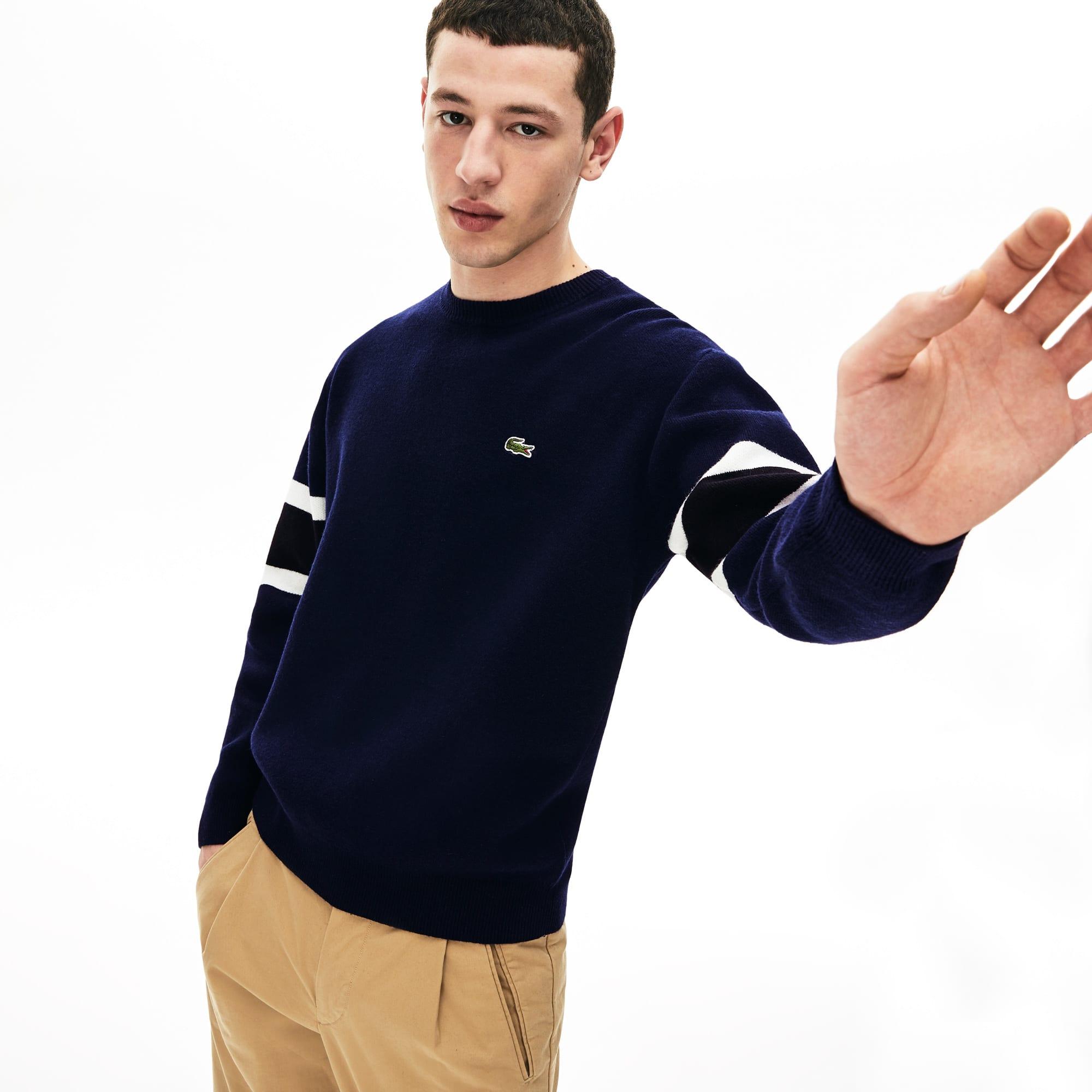 Lacoste Lingerie Men's Crewneck Striped-Sleeve Heathered Jacquard Sweater