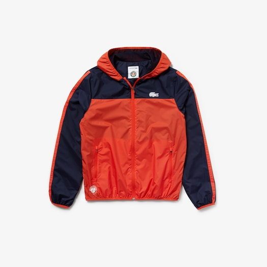 라코스테 Lacoste Mens SPORT Roland-Garros Edition Hooded Jacket,Red / Navy Blue - JVZ (Selected colour)