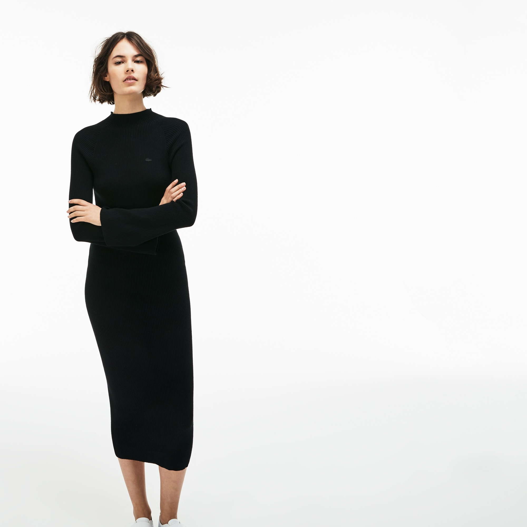 Women's LIVE Close-Fitting Ribbed Cotton And Cashmere Dress