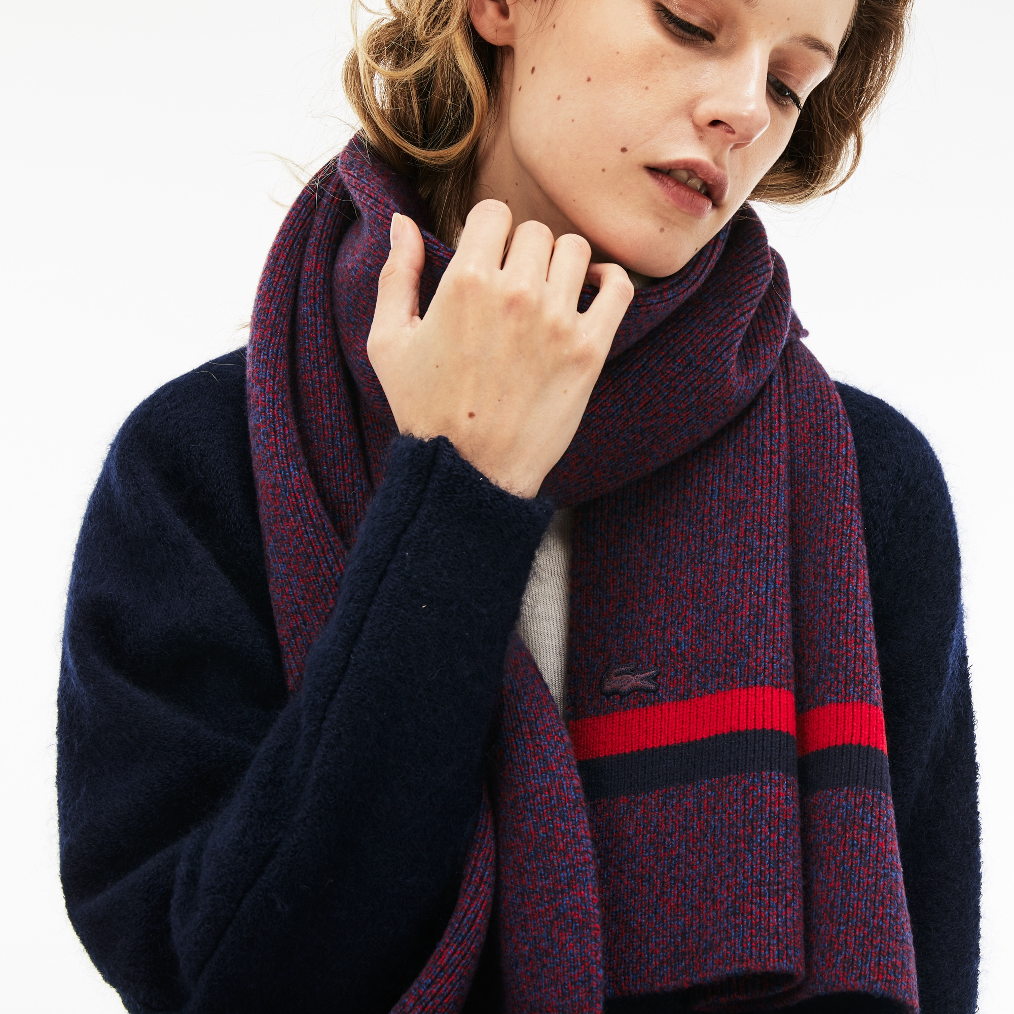 Women's Contrast Bands Ribbed Wool Scarf