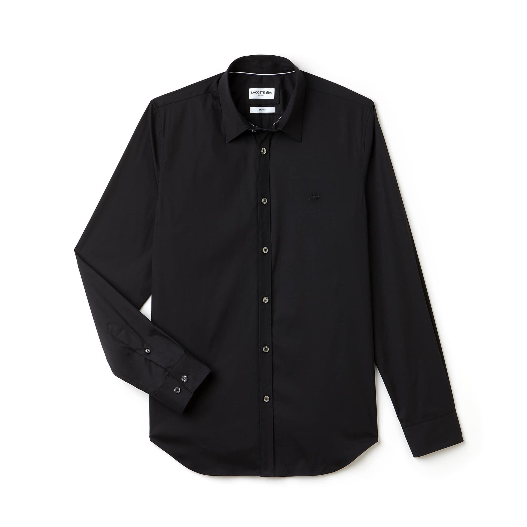 라코스테 Lacoste Mens Slim Fit Stretch Cotton Poplin Shirt,black