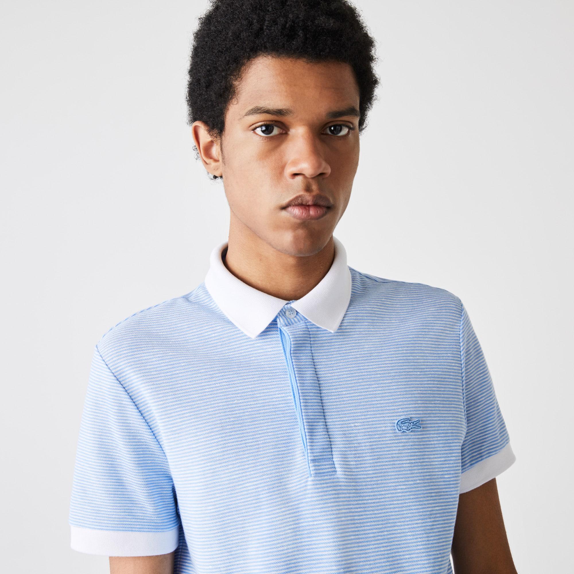 Men's Lacoste Regular Fit Striped Cotton and Linen Pique Polo Shirt