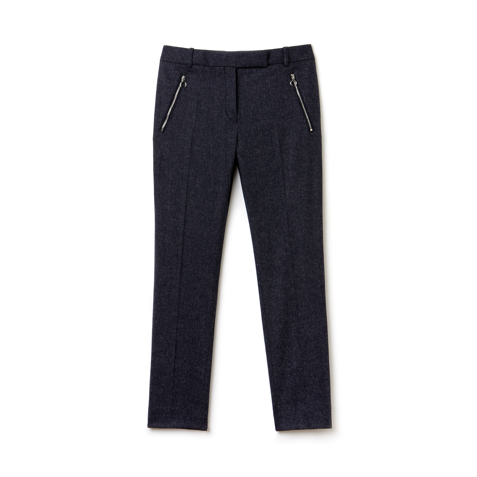Women's Cotton Wool Twill Cropped Slim Fit Trousers