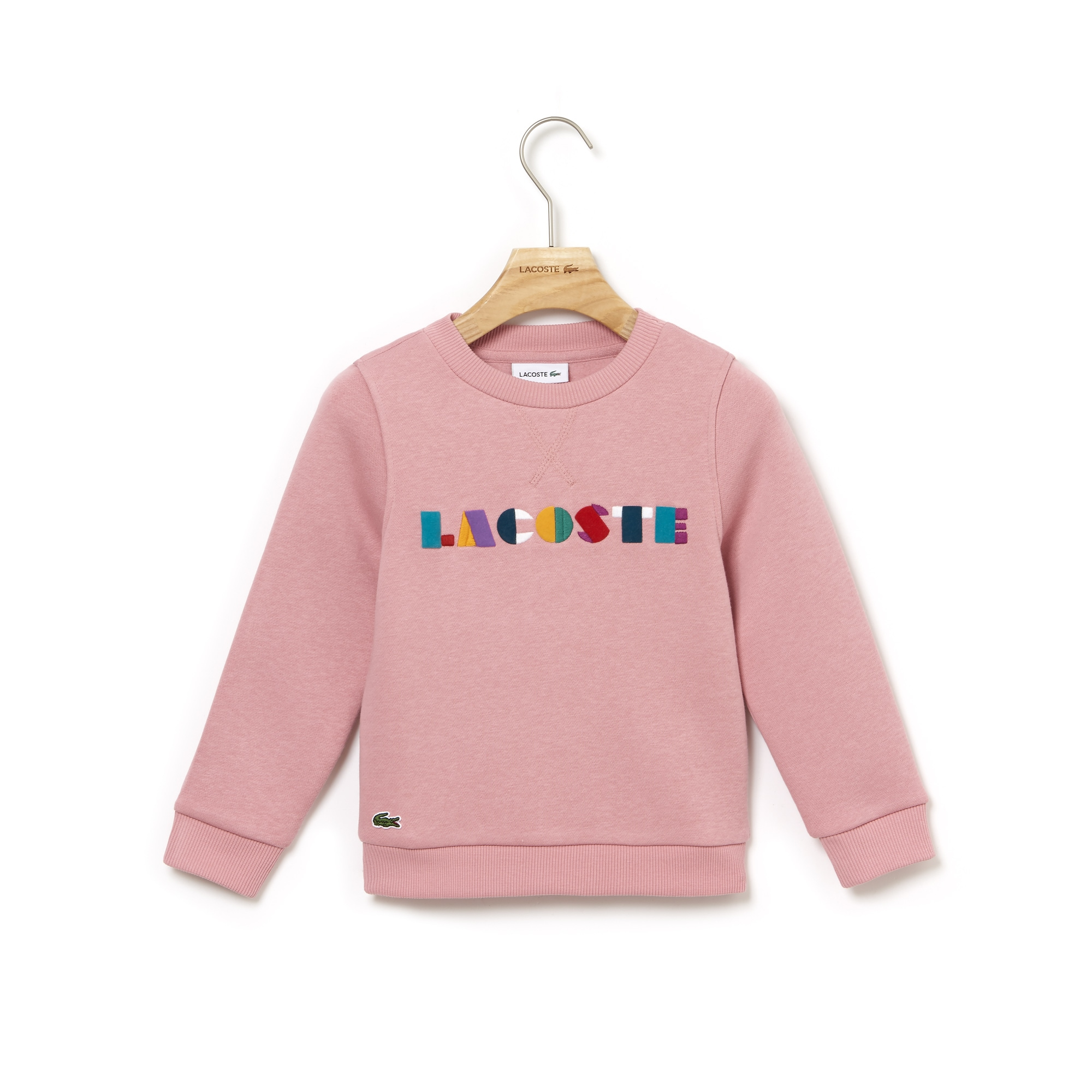 Girls' Crew Neck Colored Embroidery Fleece Sweatshirt