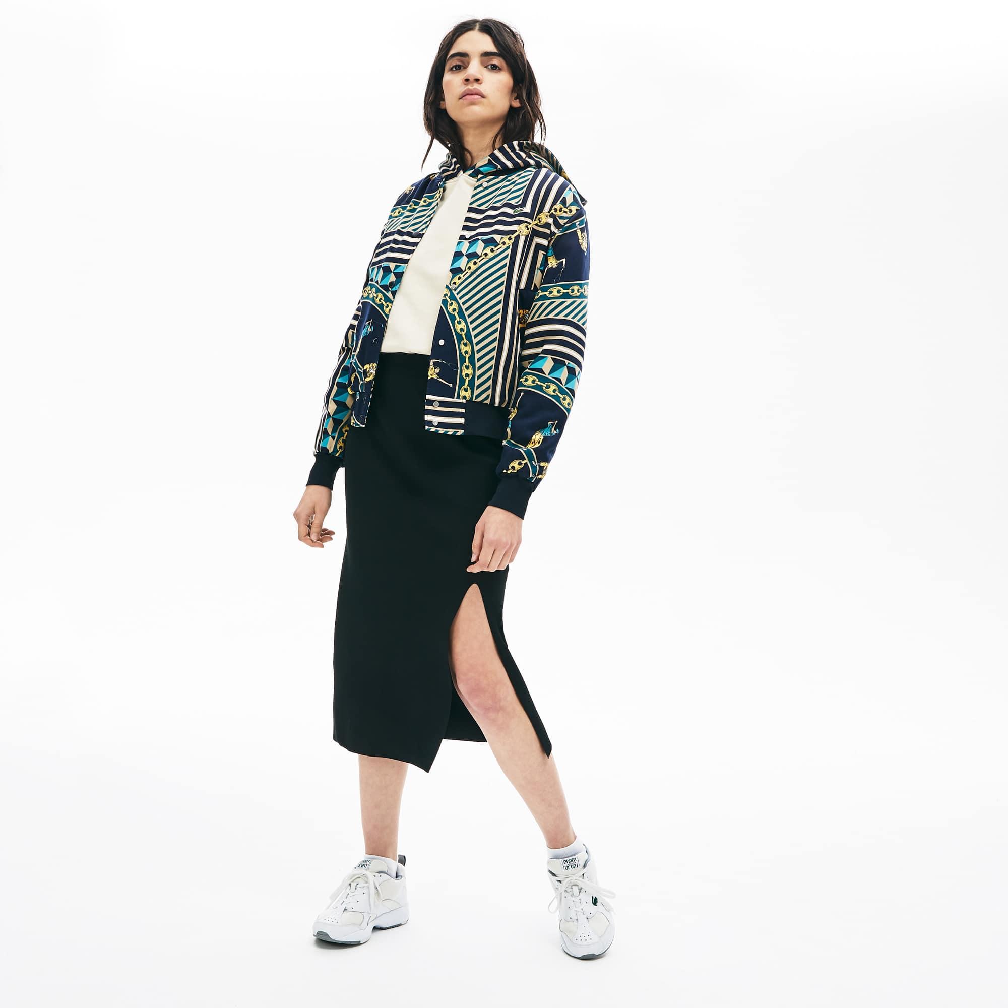 라코스테 라이브 슬릿 니트 스커트 - 블랙 Lacoste Womens LIVE Slit-Front Knit Skirt