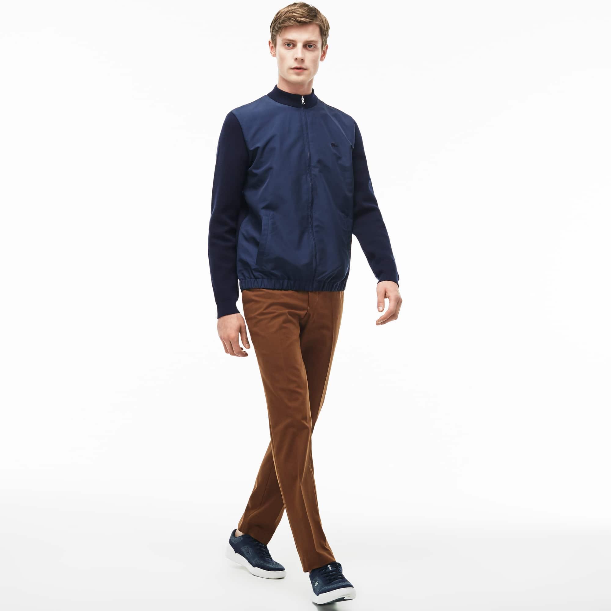 Men's Slim Fit Pleated Stretch Gabardine Chino Pants
