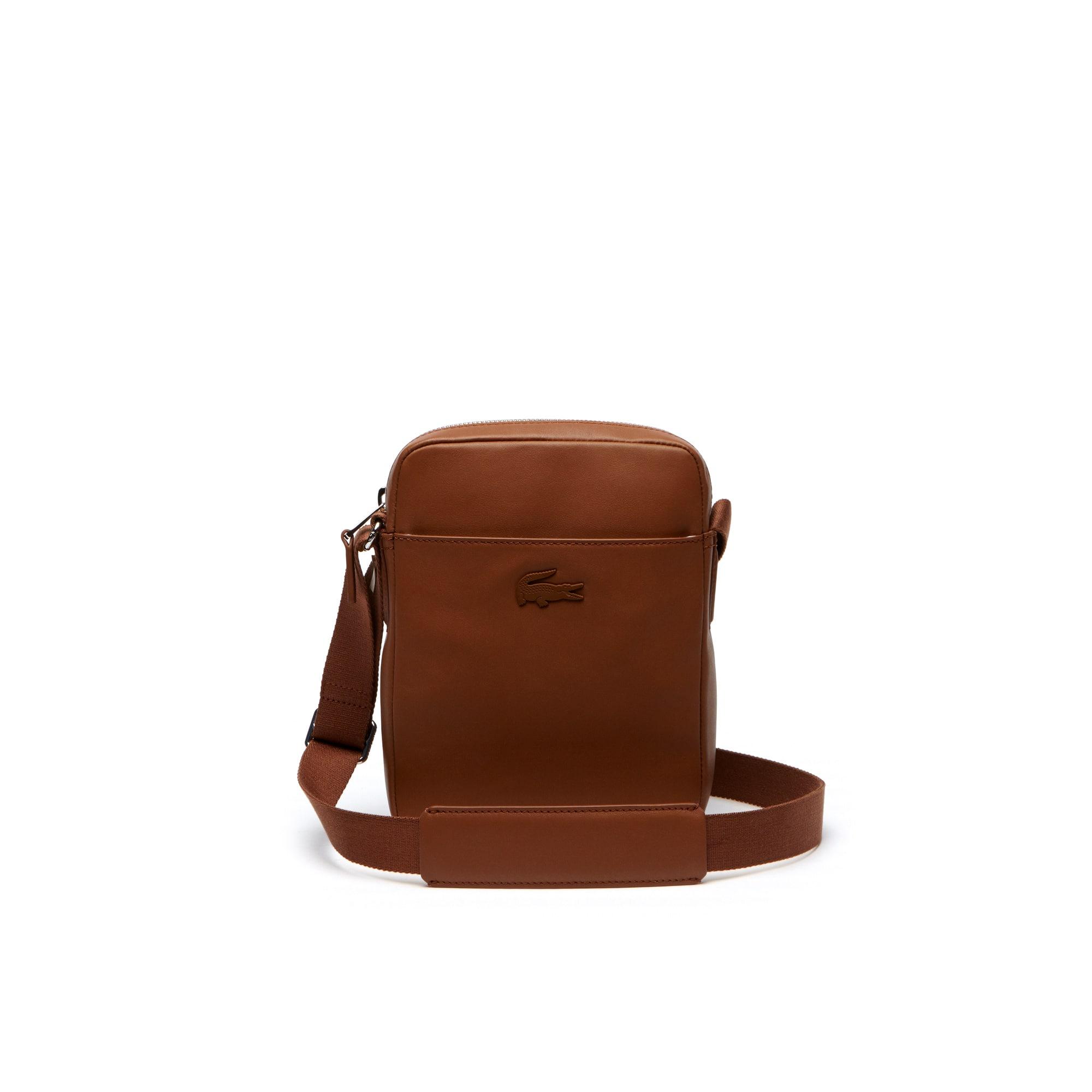 라코스테 메신저백 Lacoste Mens L.12.12 Business Vertical Leather Bag,bison