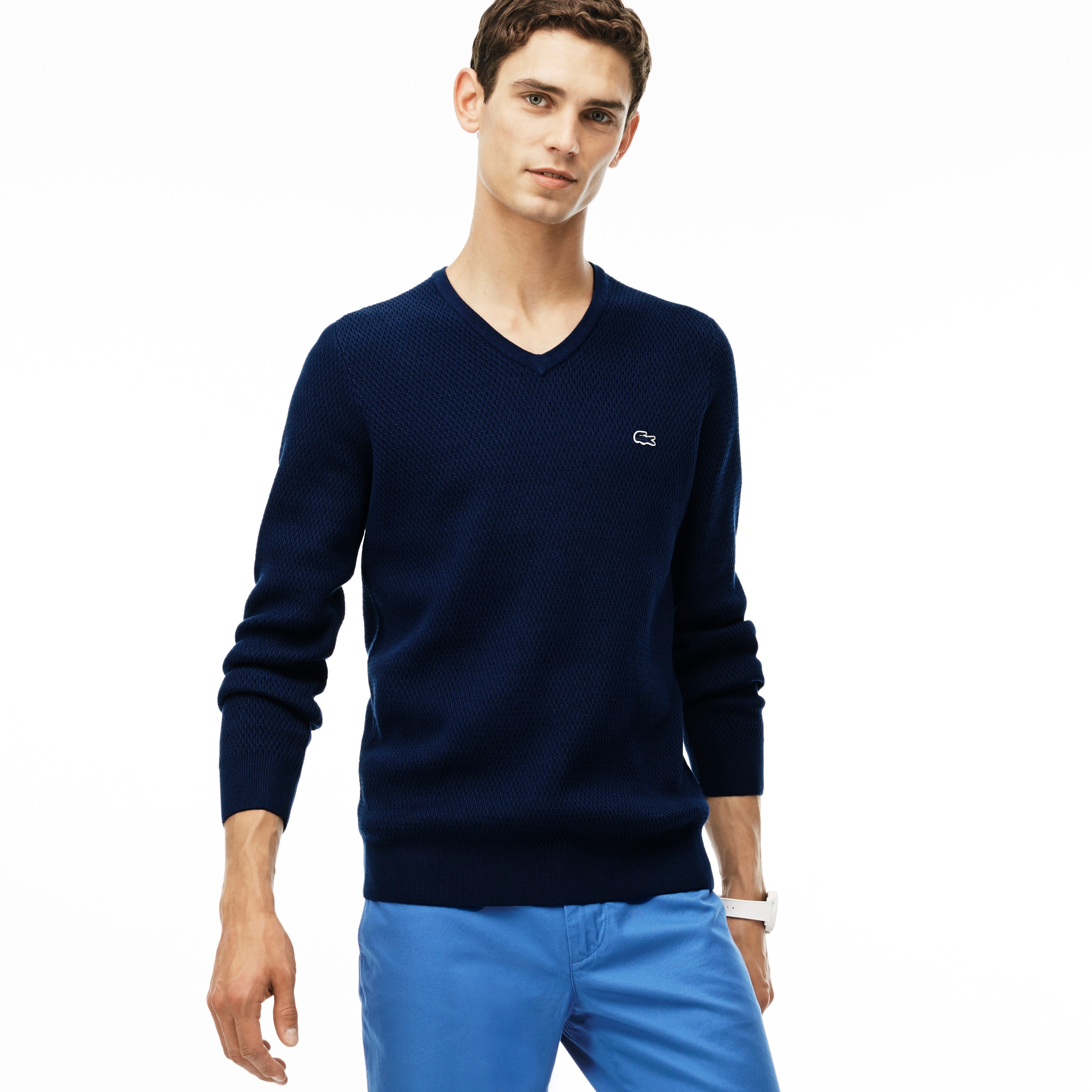 Men's V-Neck Wool and Cotton Blend Sweater