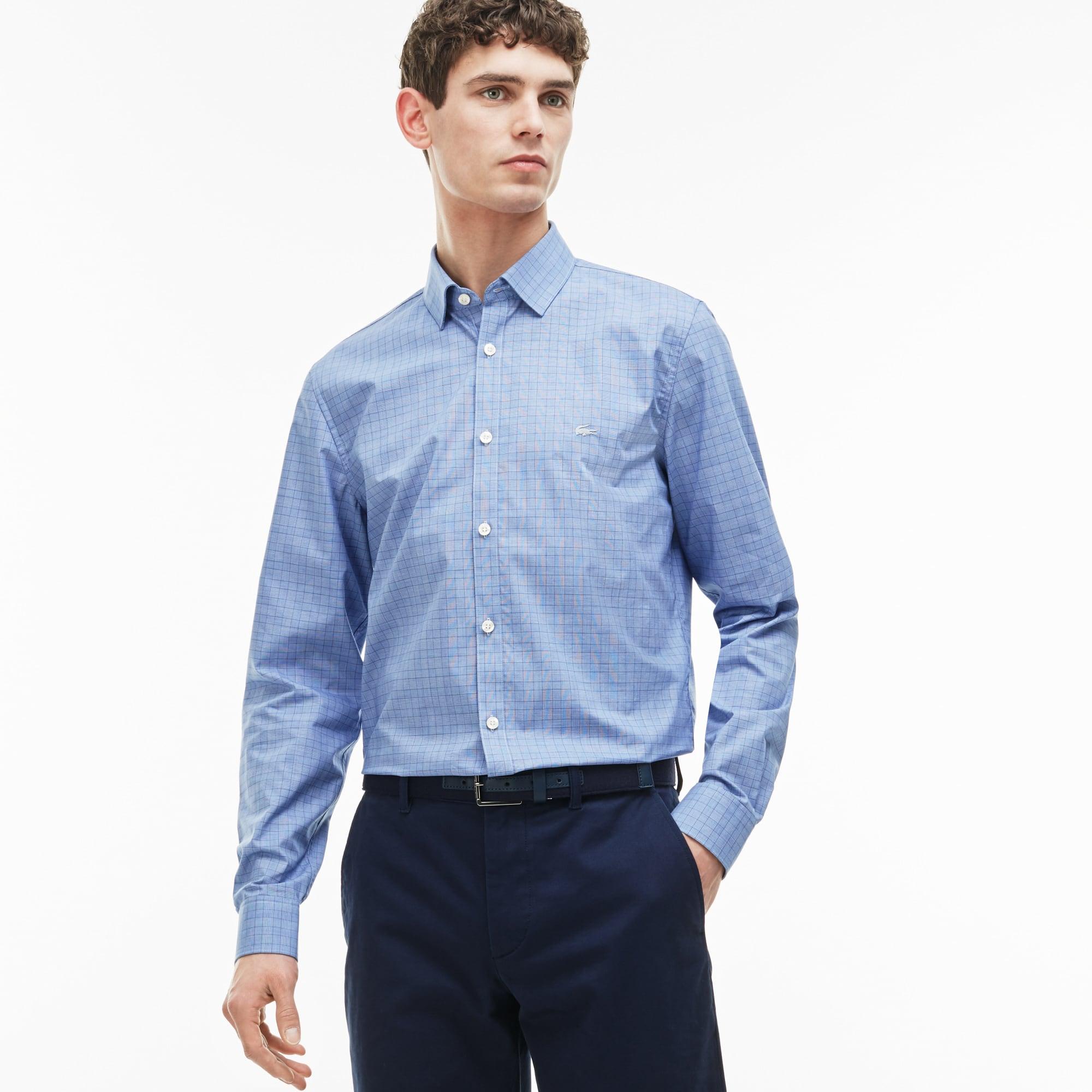 Men's Slim Fit Glen Plaid Poplin Shirt