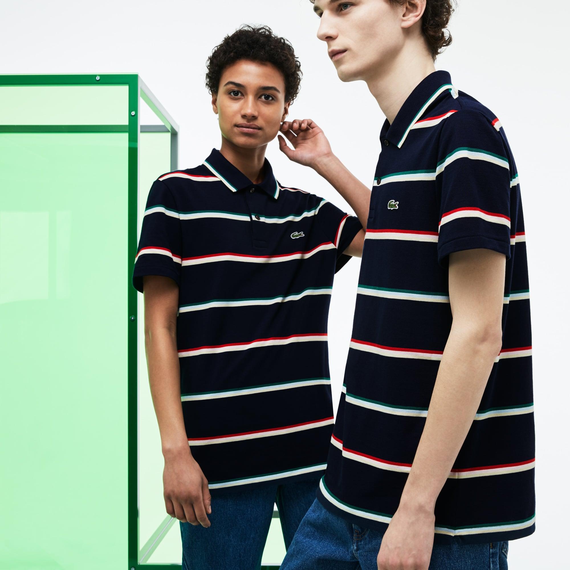 라코스테 스트라이프 반팔 카라티 Lacoste Unisex Fashion Show Colored Stripes Pique Polo,navy blue/bottle green-mi