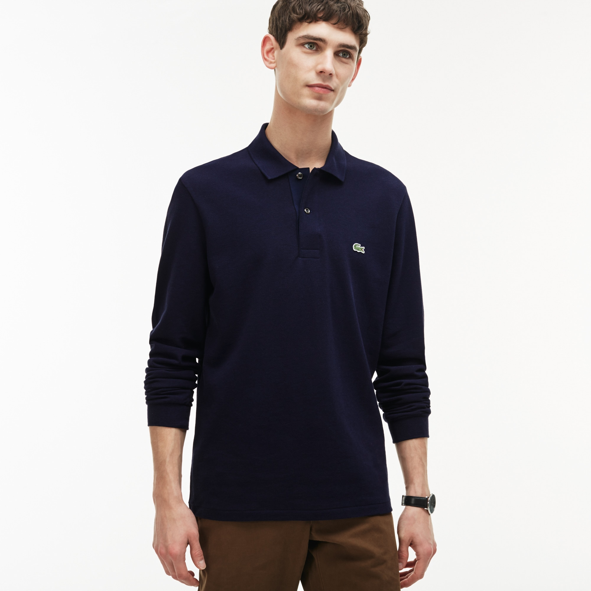 Men's Long Sleeve Chine Piqué Polo Shirt