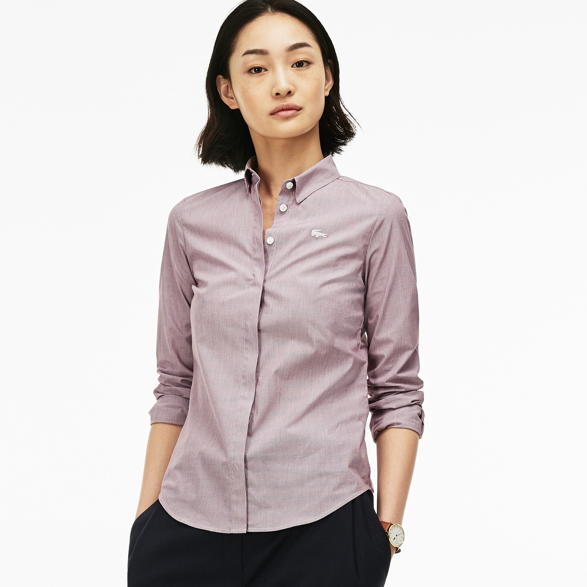 Women's Slim Fit Striped Stretch Cotton Poplin Shirt