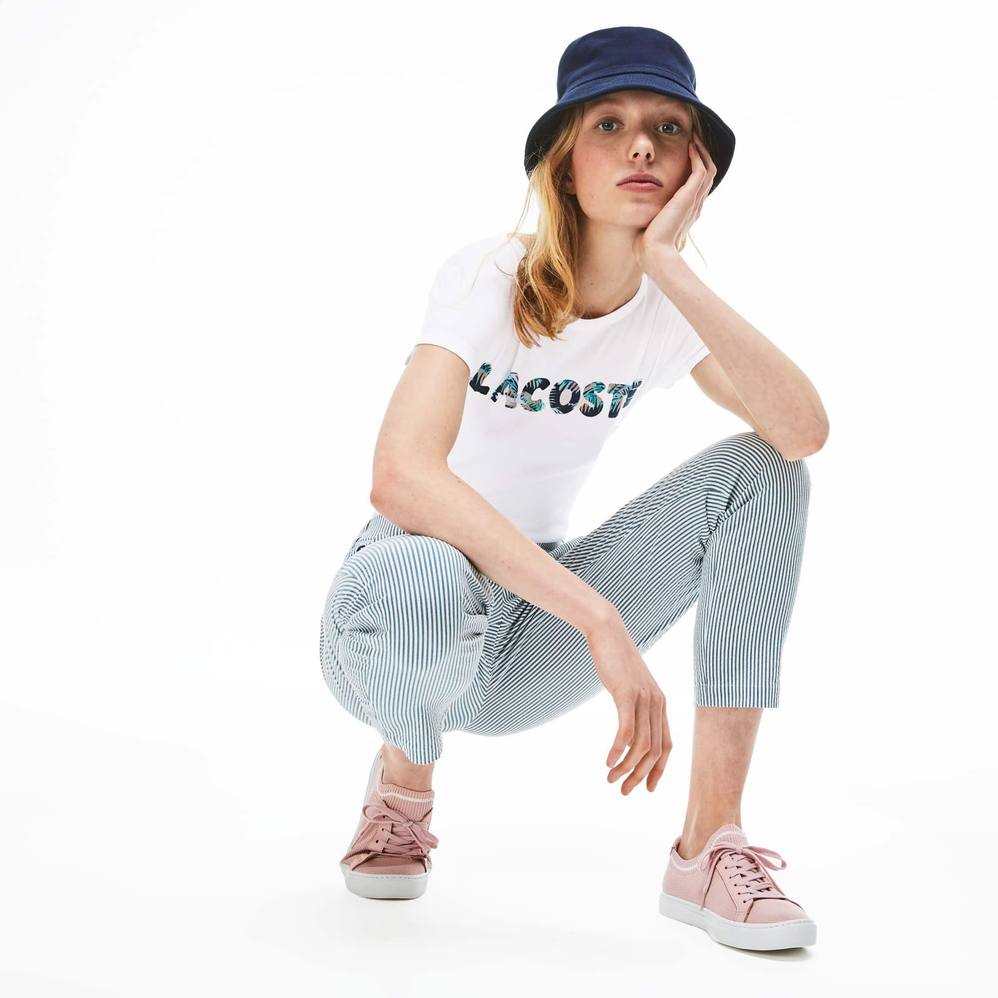 Women's Crew Neck Lacoste Palm Print T-Shirt