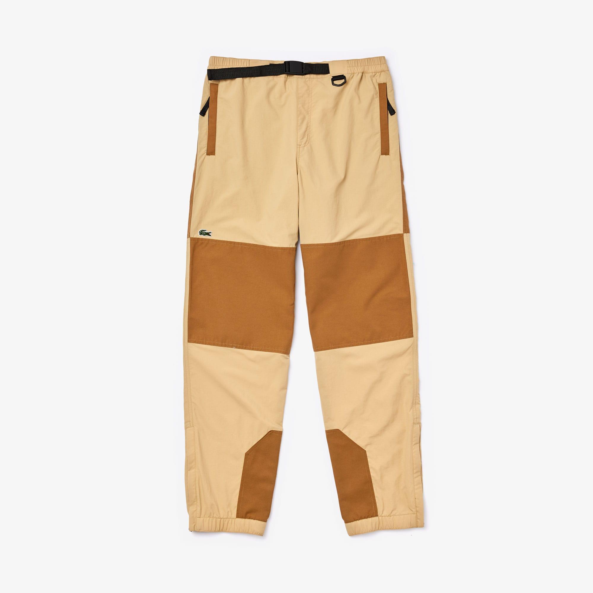 라코스테 라이브 투톤 트랙 팬츠 Lacoste Mens LIVE Two-Tone Track Pants,Beige / Brown
