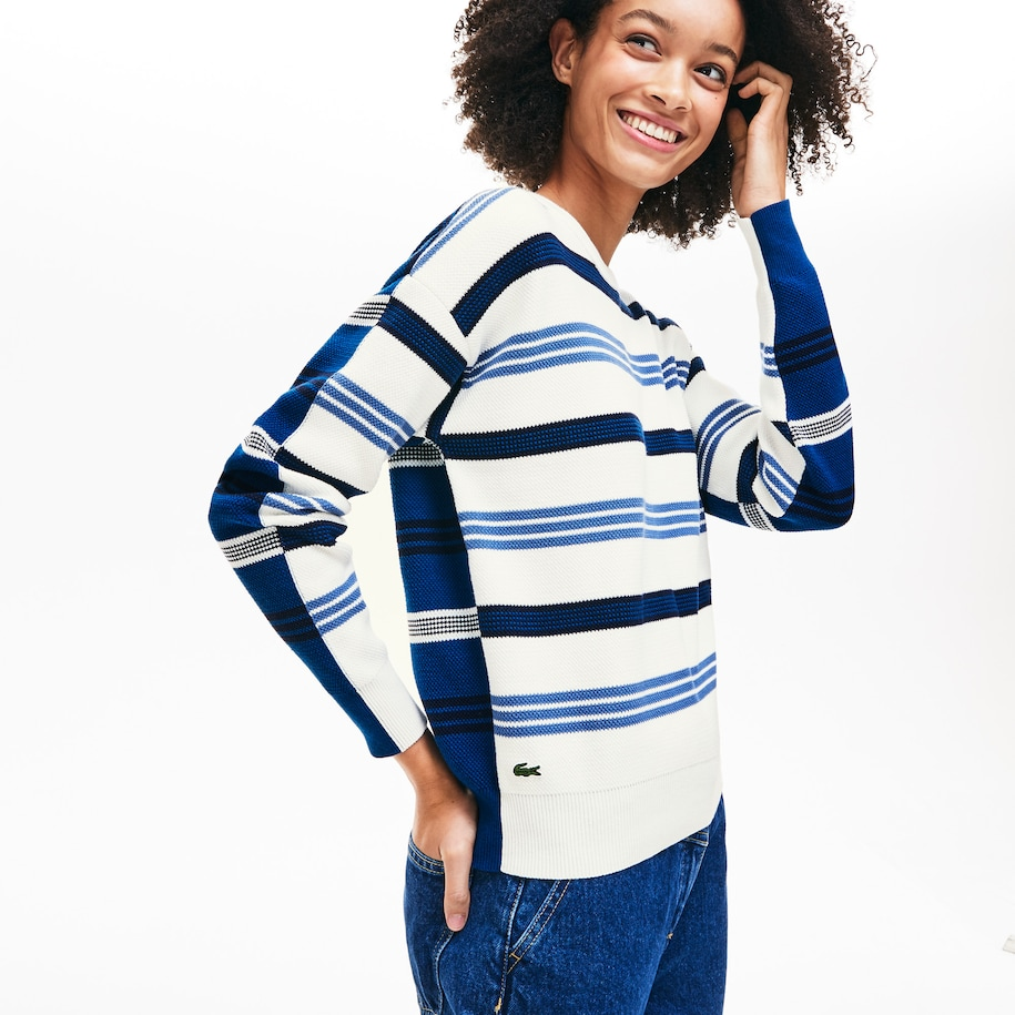 Women's Crewneck Striped Piqué And Jersey Sweater