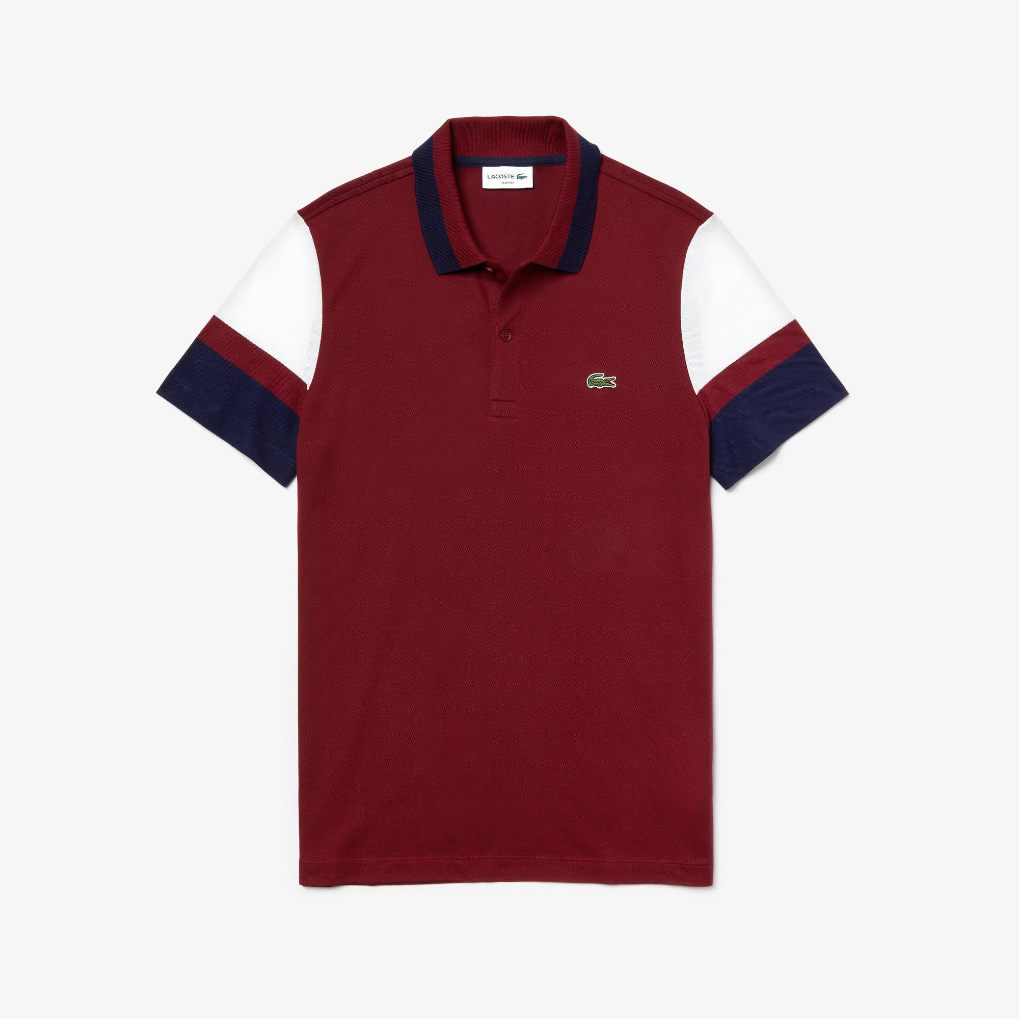 라코스테 스트레치 반팔 셔츠 (슬림핏) Lacoste Mens Slim Fit Stretch Pima Polo Shirt,Bordeaux / White / Navy Blue