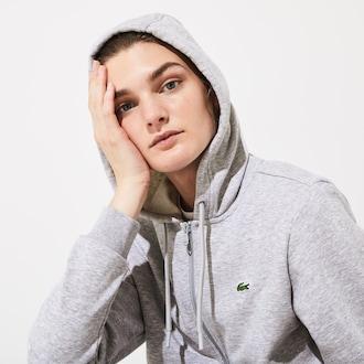 라코스테 스포츠 우먼 테니스 플리스 스웻셔츠 - 그레이 Lacoste Womens SPORT Tennis Hooded Zippered Fleece Sweatshirt