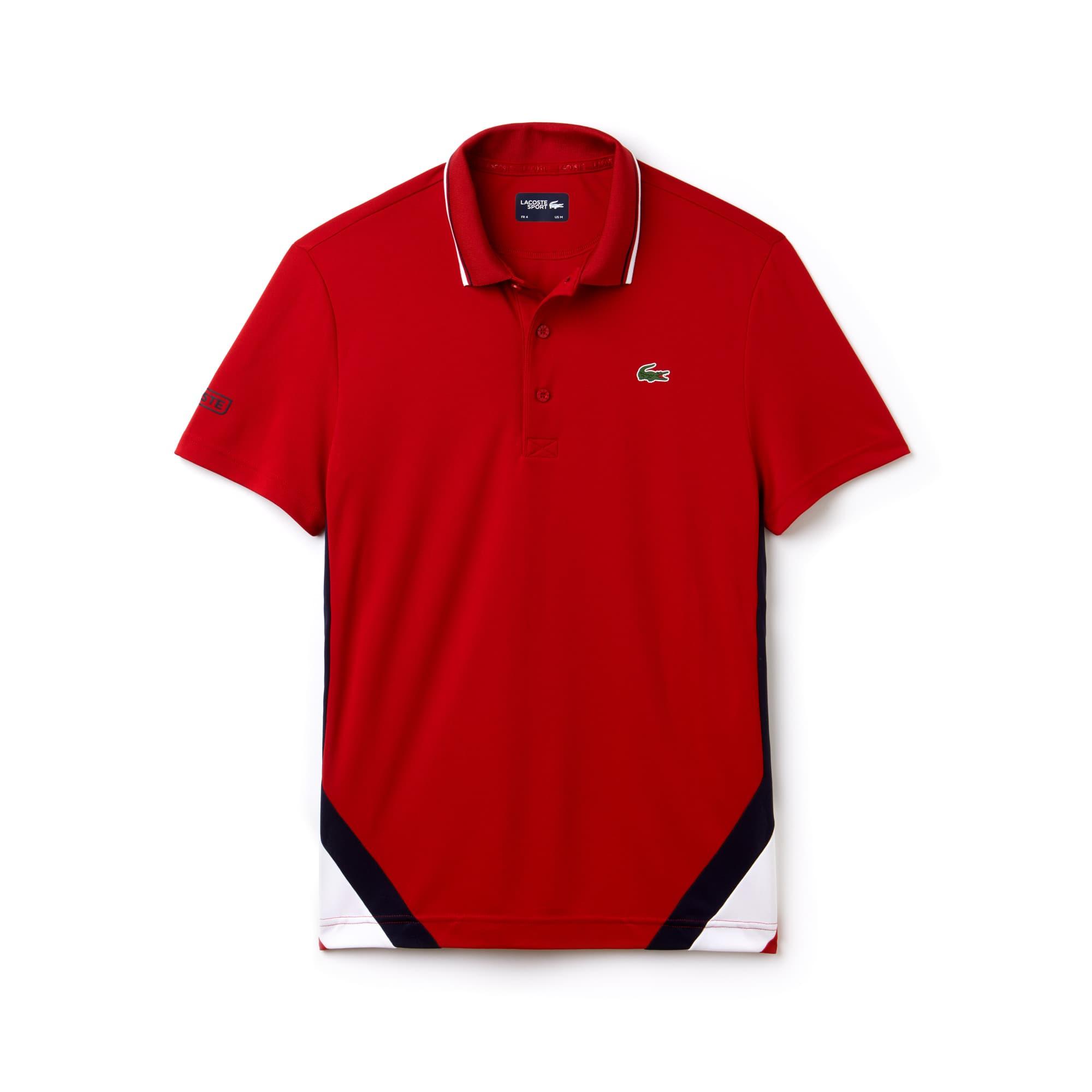 라코스테 Lacoste Mens SPORT Colorblock Bands Technical Pique Tennis Polo,lighthouse red/white-navy