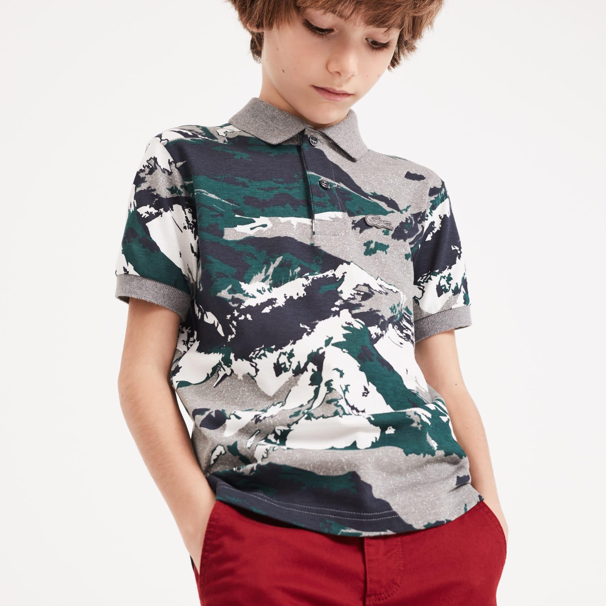 Polo Garçon Lacoste en mini piqué de coton imprimé