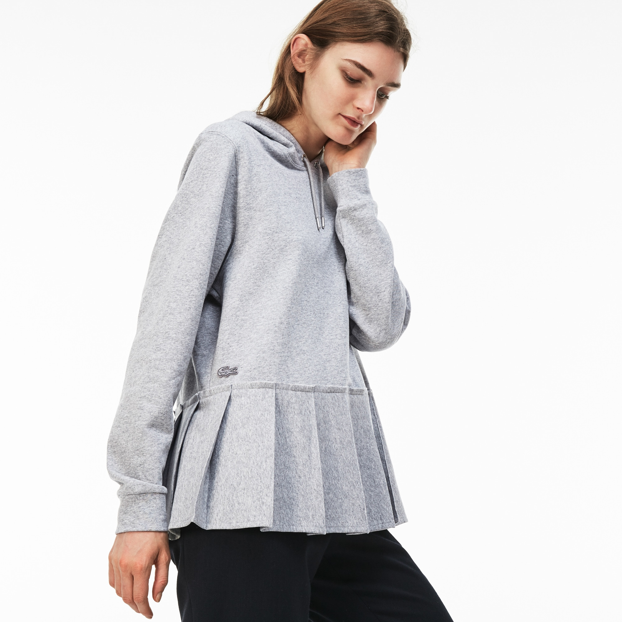 Women's Hooded Pleated Fleece Sweatshirt