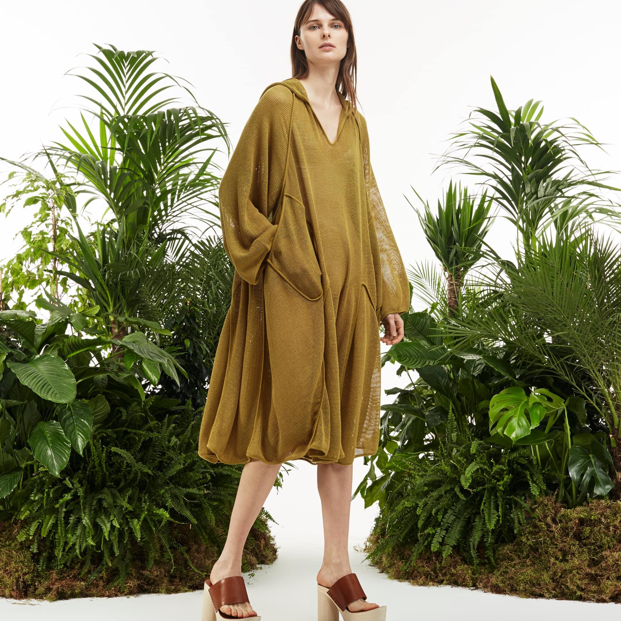 Women's Fashion Show Hooded Mesh Dress