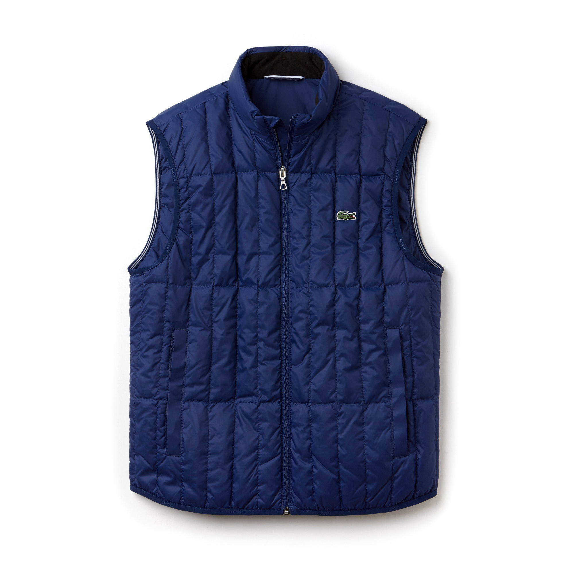 라코스테 Lacoste Mens Lightweight Built-in Hood Quilted Down Packable Vest,METHYLENE