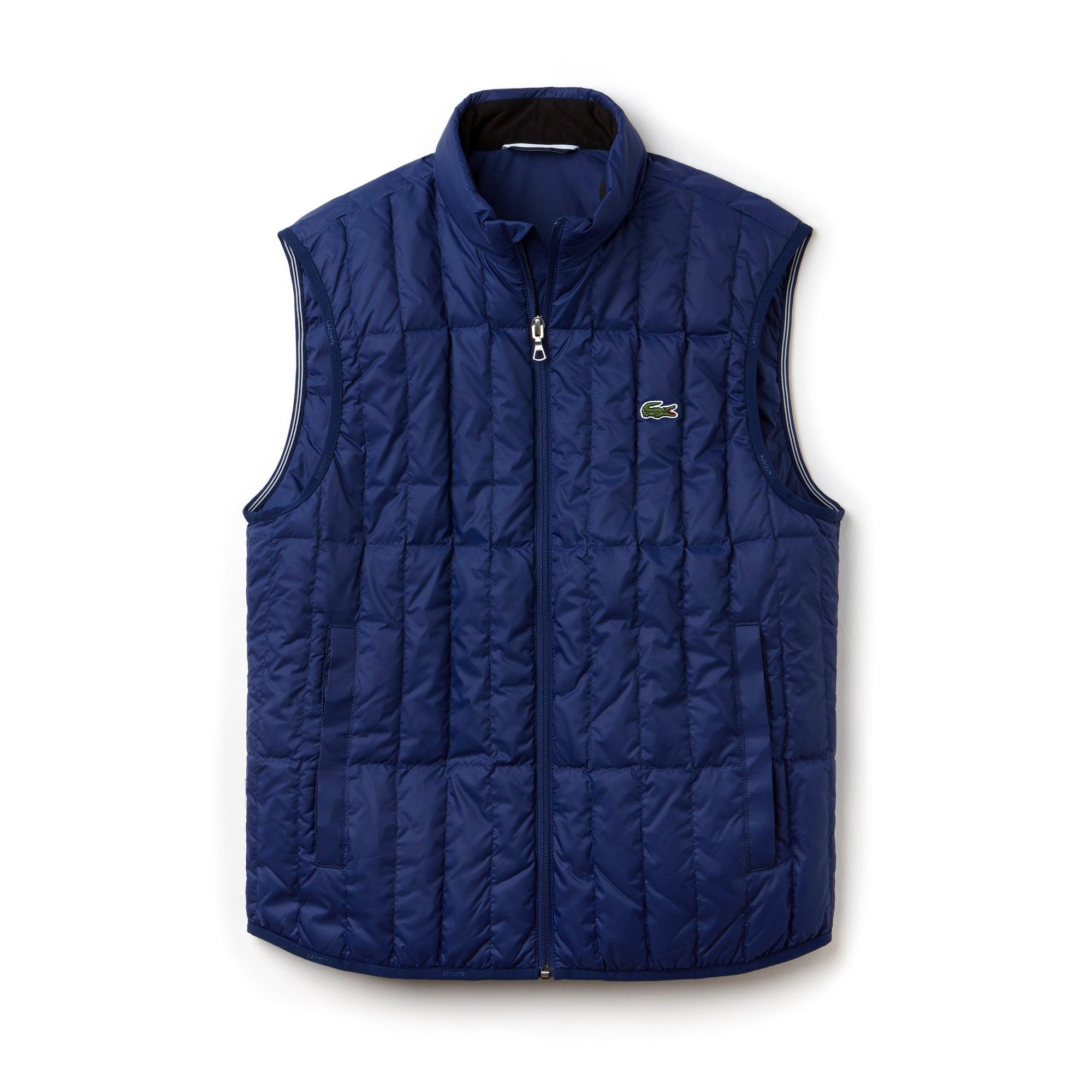 라코스테 조끼 Lacoste Mens Lightweight Built-in Hood Quilted Down Packable Vest,METHYLENE