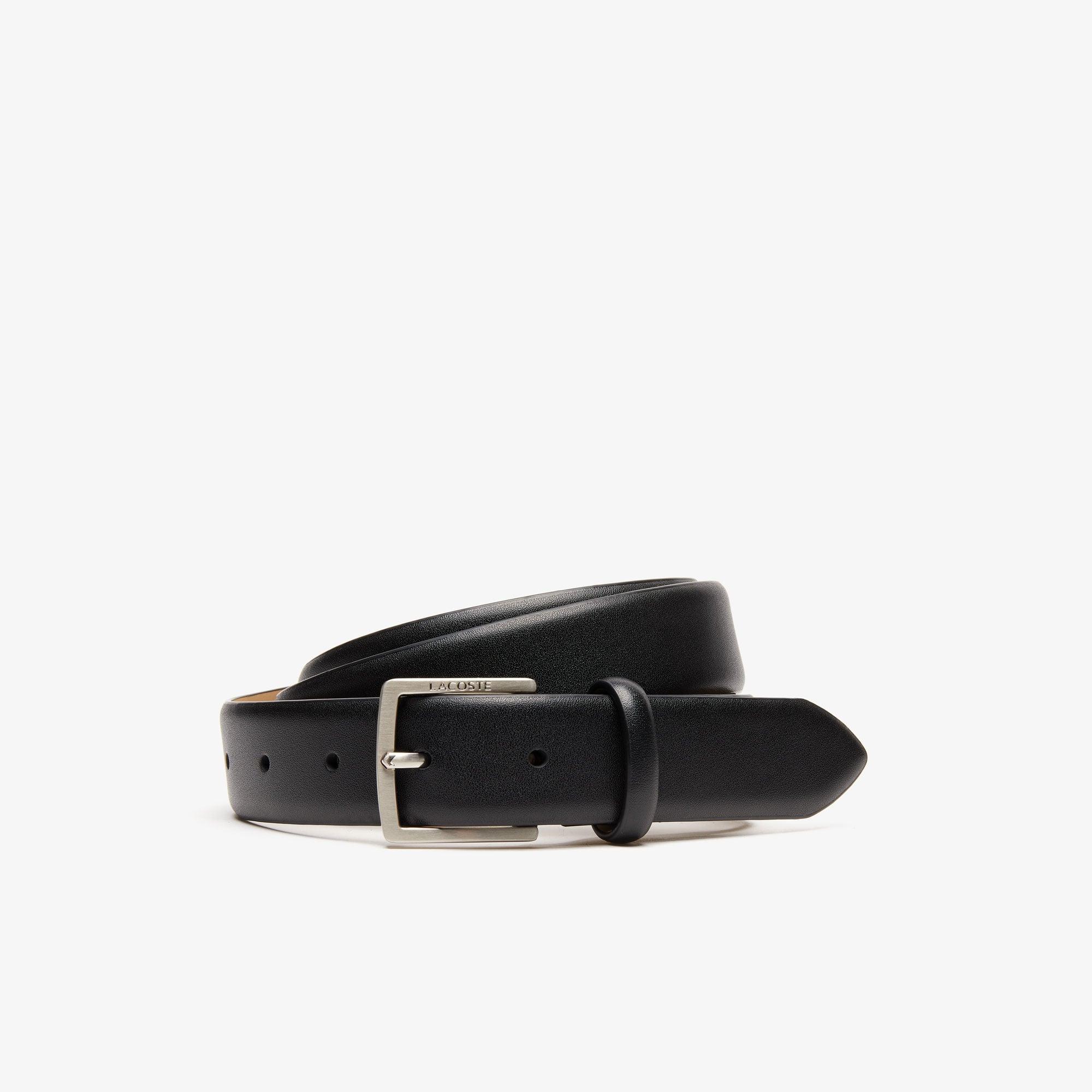 Lacoste Belts Men's Engraved-Buckle Leather Belt
