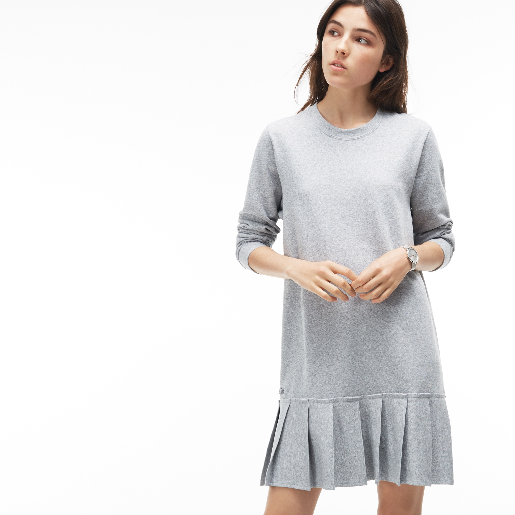 Women's Pleated Fleece Sweatshirt Dress