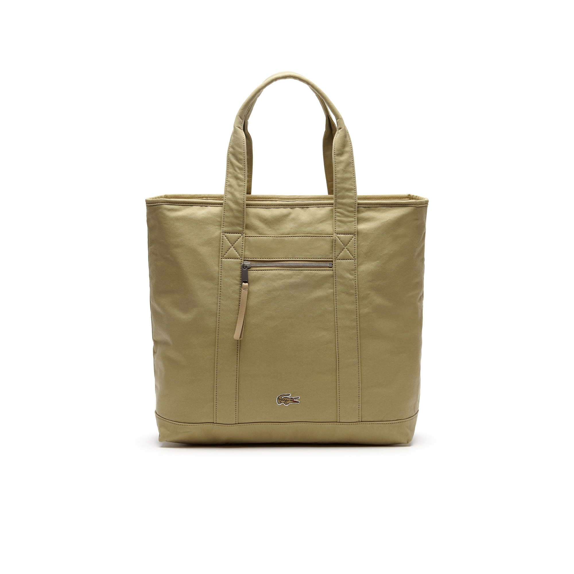라코스테 Lacoste Mens Summer Faded Cotton Large Zip Tote Bag,SLATE GREEN