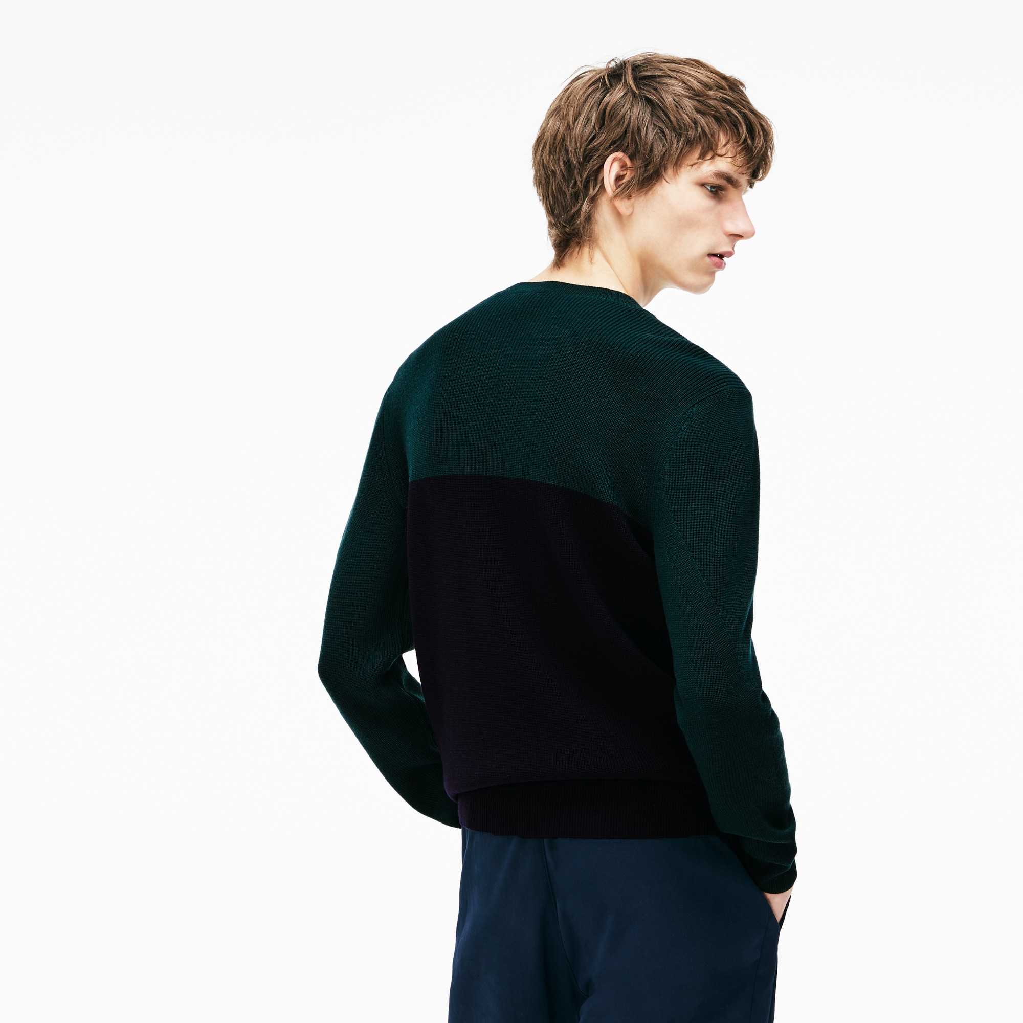 Men's Crew Neck Ribbed Wool Sweater