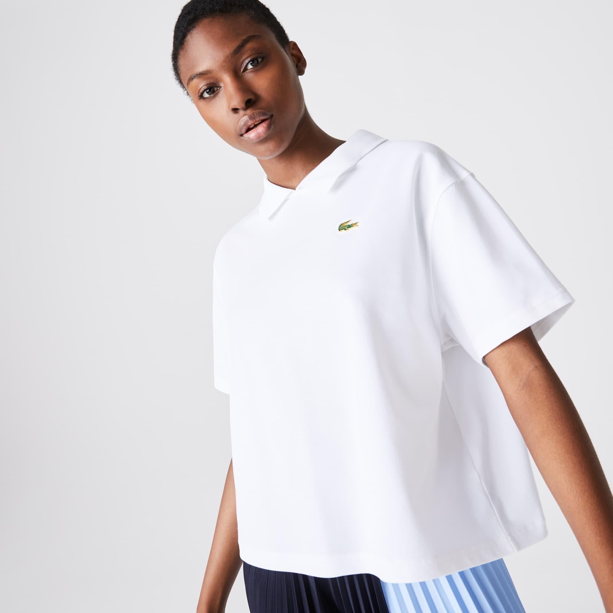 Lacoste Women's LIVE Boxy Fit Stretch Cotton Pique Polo Shirt
