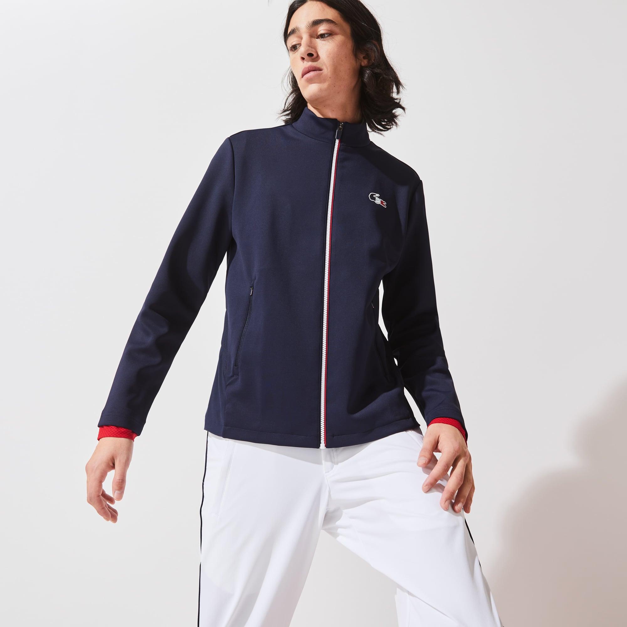 라코스테 맨 스포츠 자켓 Lacoste Mens SPORT French Sporting Spirit Edition Bi-Material Zippered Jacket,Navy Blue / White / Red LAW