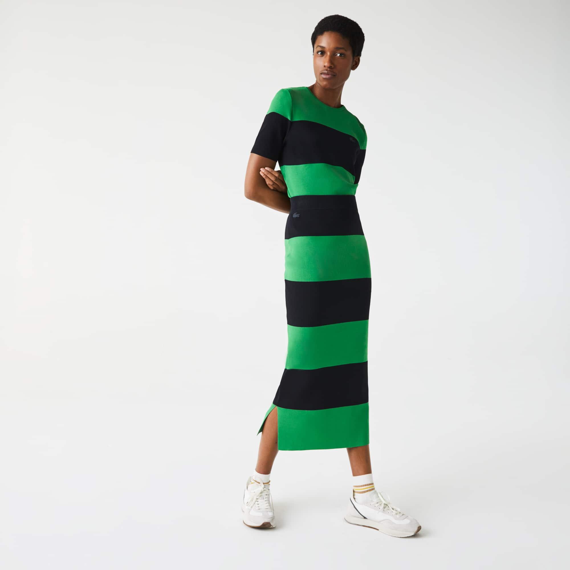 라코스테 Lacoste Women's LIVE Long Striped Knit Skirt,Green / Navy Blue RDS