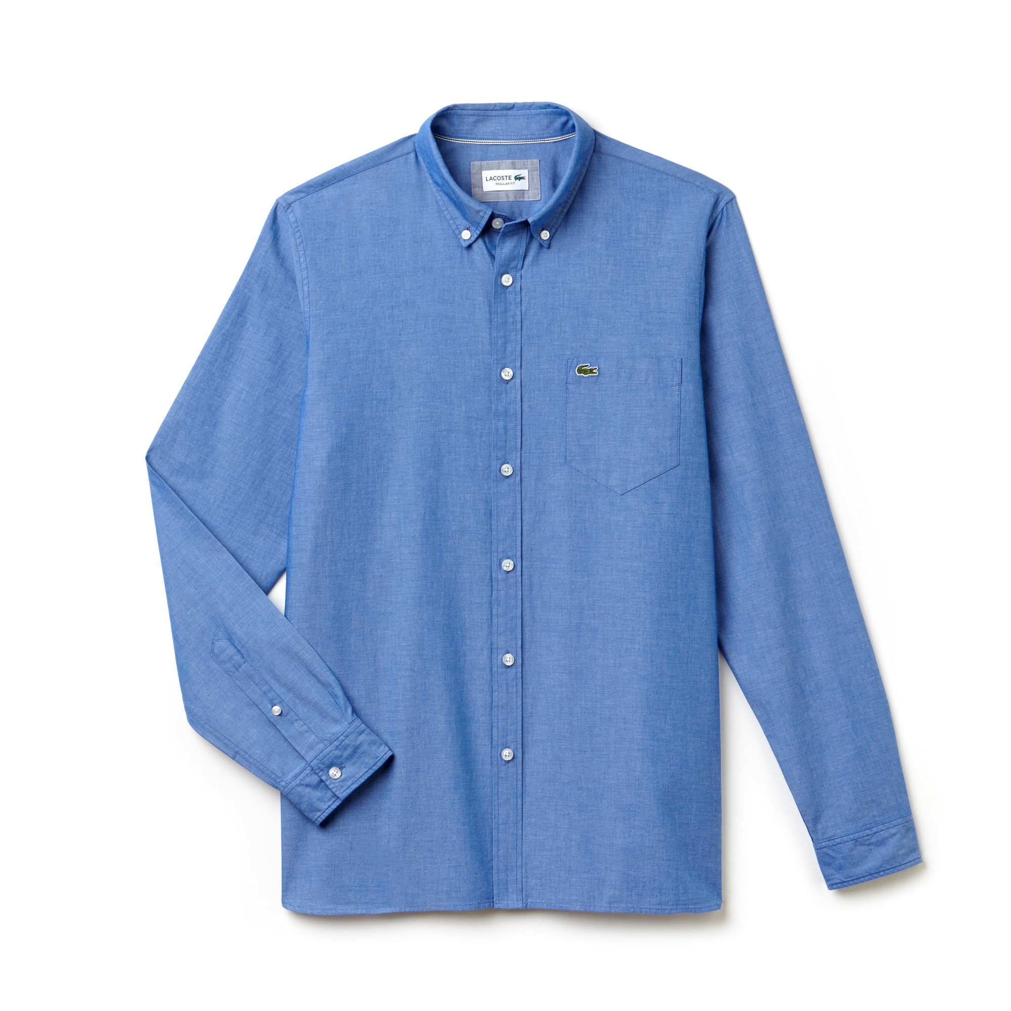 Men's Regular Fit Colored Cotton Chambray Shirt