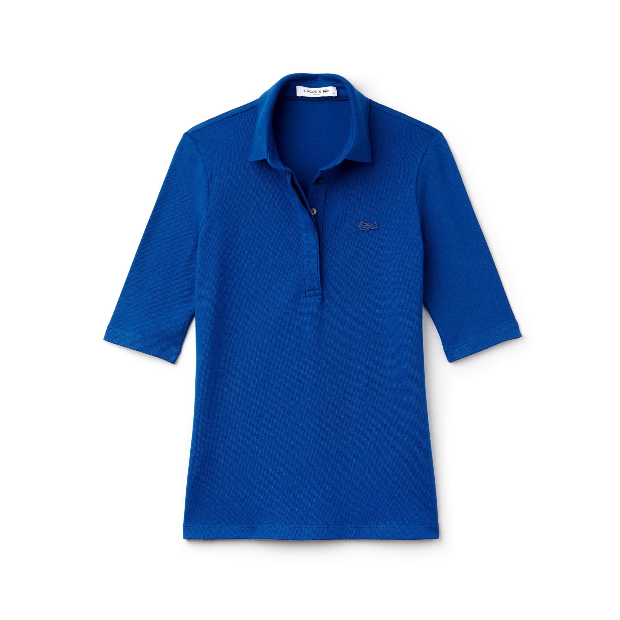 라코스테 Lacoste Womens Slim Fit Stretch Mini Pique Polo Shirt,blue