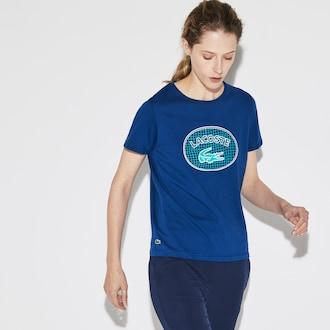 라코스테 우먼 스포츠 반팔티 Lacoste Womens SPORT Oversized Logo Design Jersey Tennis T-shirt,Navy Blue / White / Green