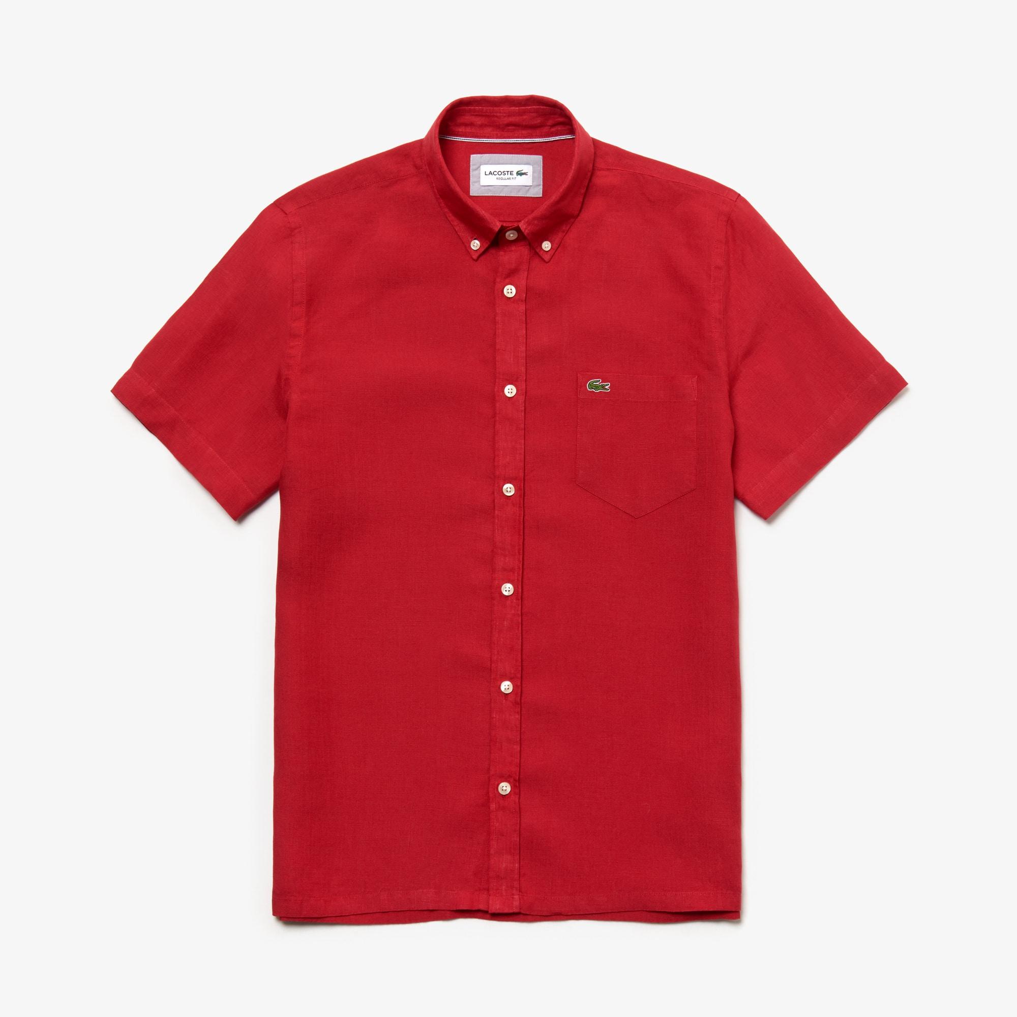 라코스테 Lacoste Mens Regular Fit Linen Shirt,red