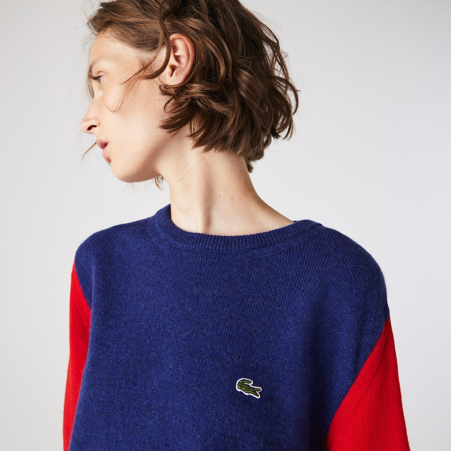 Women's Made in France Crew Neck Colourblock Wool Sweater