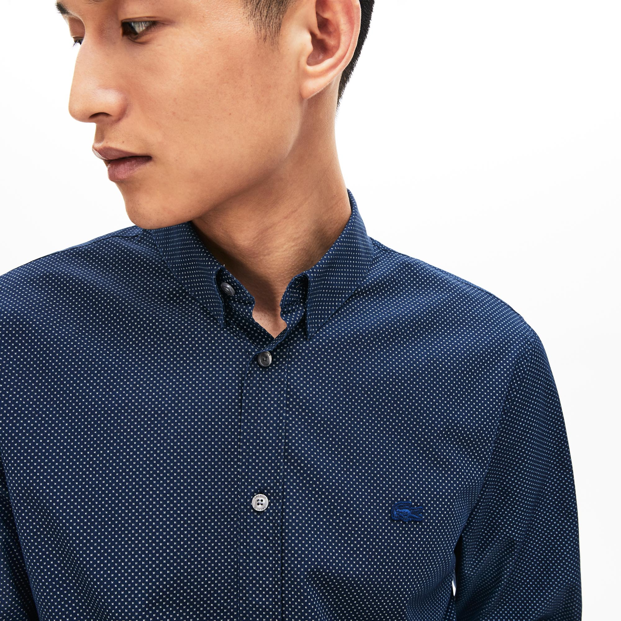 Men's Slim Fit Mini Patterned Cotton Poplin Shirt