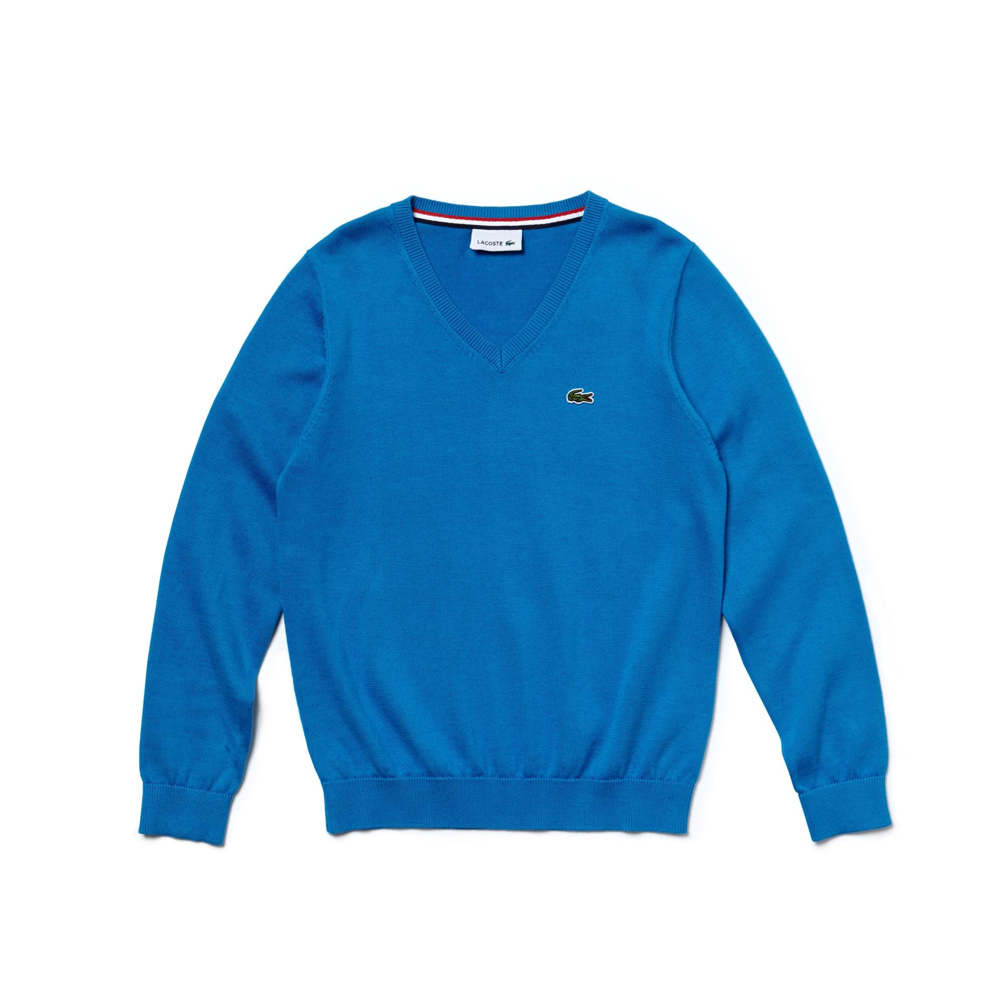 Boy's V-Neck Cotton Sweater
