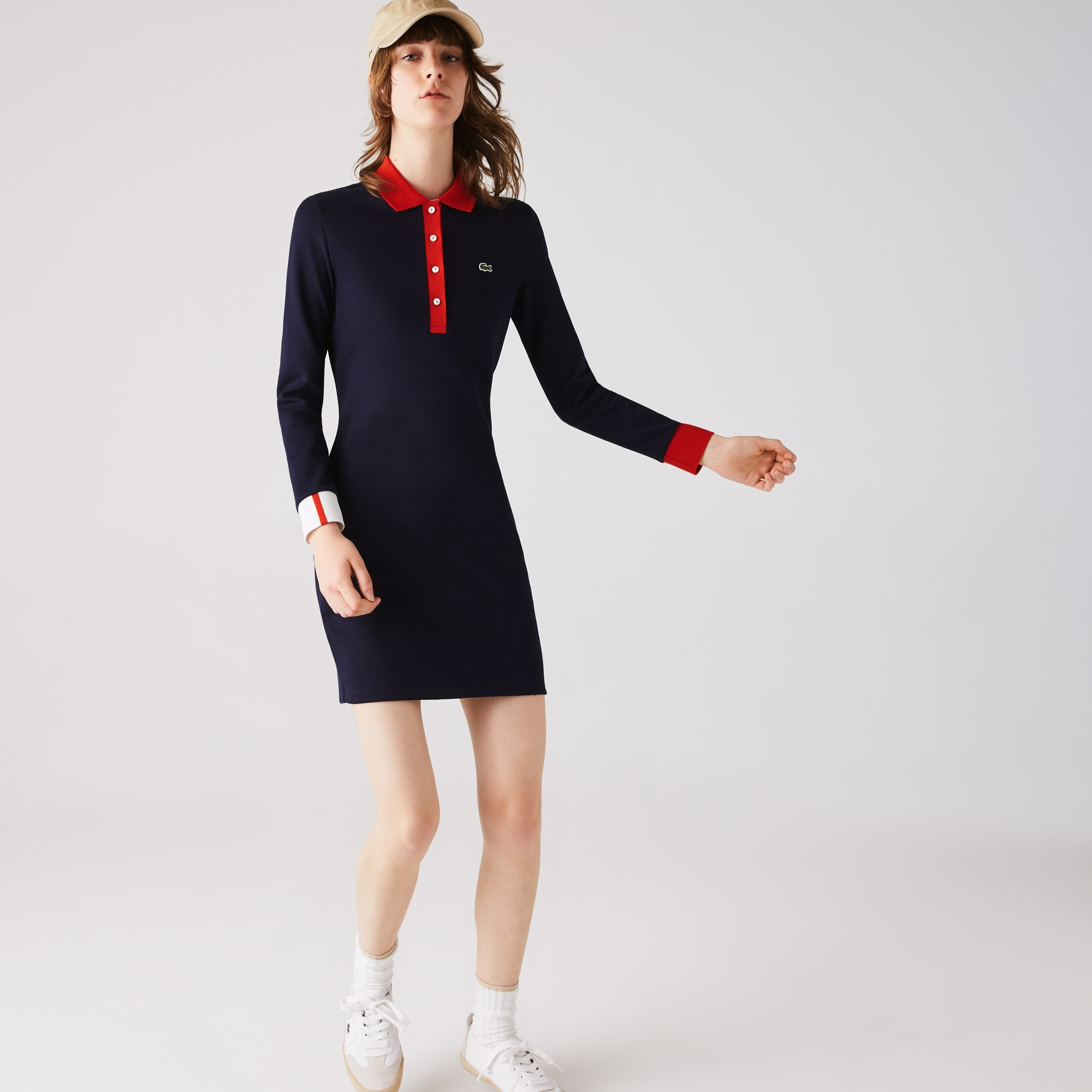 Lacoste Womens Made In France Stretch Cotton Jersey Polo Dress