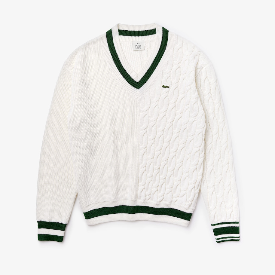 Unisex Lacoste LIVE Wool Blend V-neck Sweater