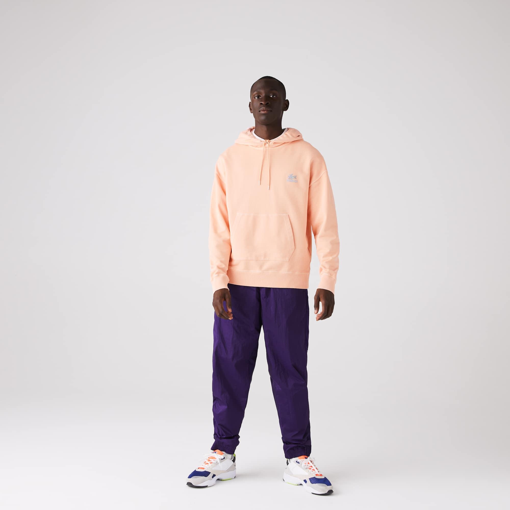 라코스테 맨 후드티 Lacoste Mens CONCEPTS Collaboration Hooded Fleece Sweatshirt,Pink YZ7