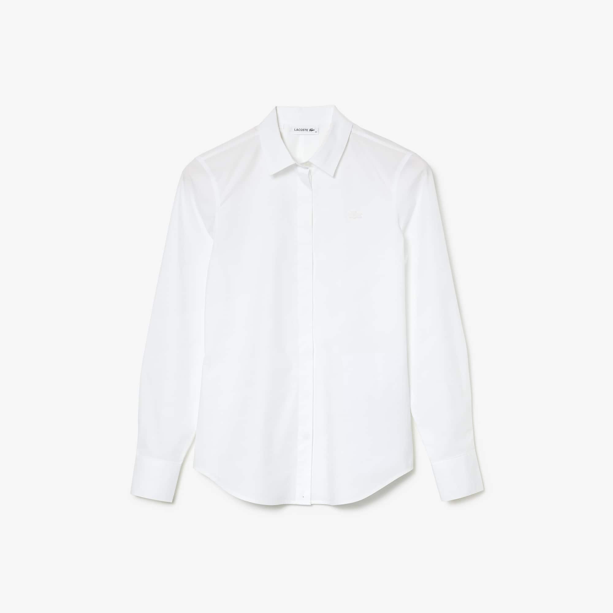 라코스테 우먼 셔츠 Lacoste Women's Slim Fit Stretch Cotton Poplin Shirt,White 001