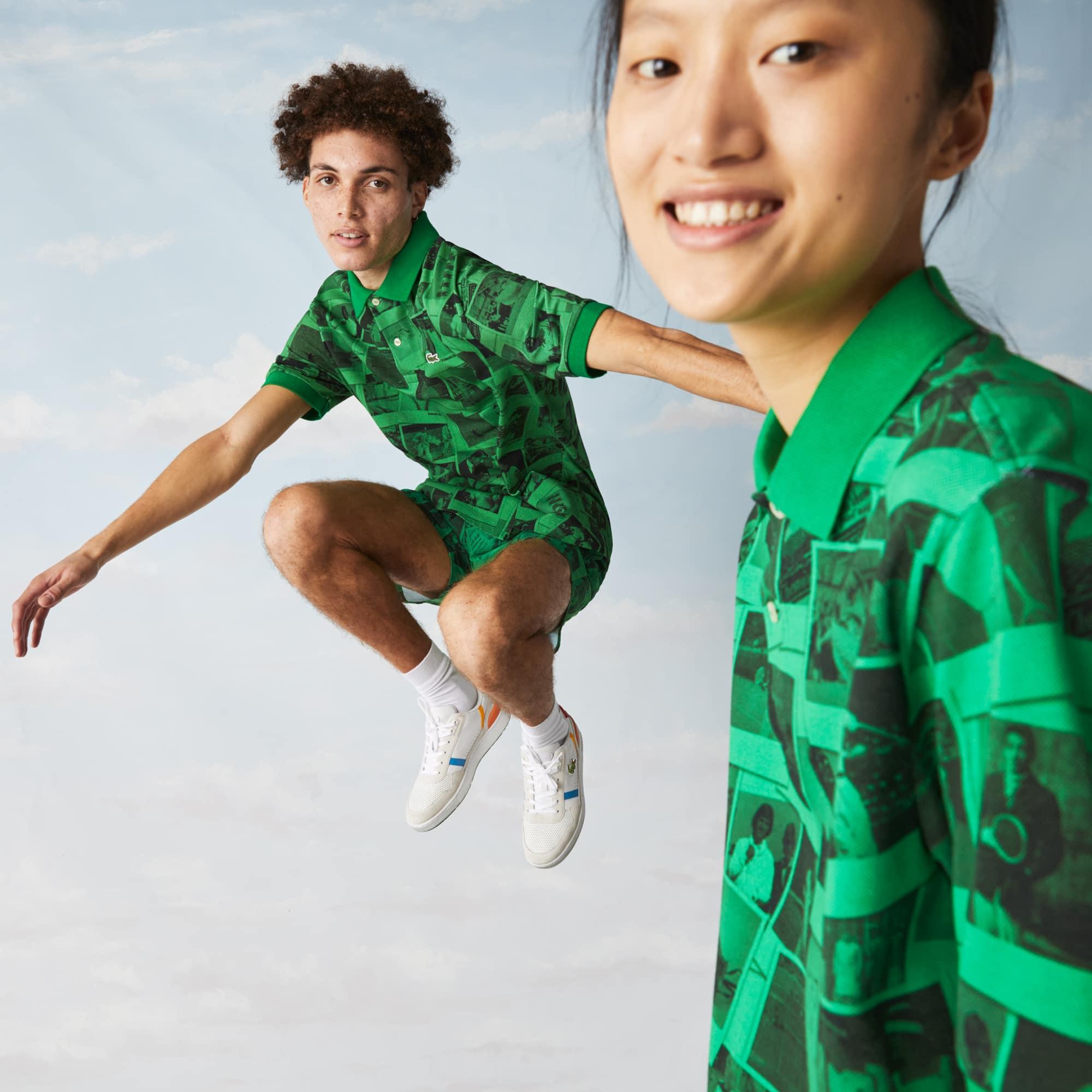 라코스테 남녀공용 라이브 라코스테 Lacoste Unisex LIVE Polaroid Collaboration Loose Fit Printed Polo