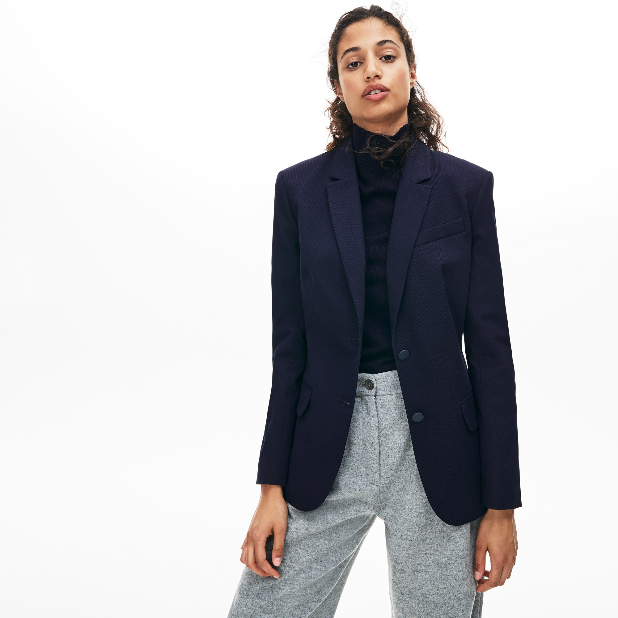 Lacoste Womens Fitted Stretch Cotton Blazer