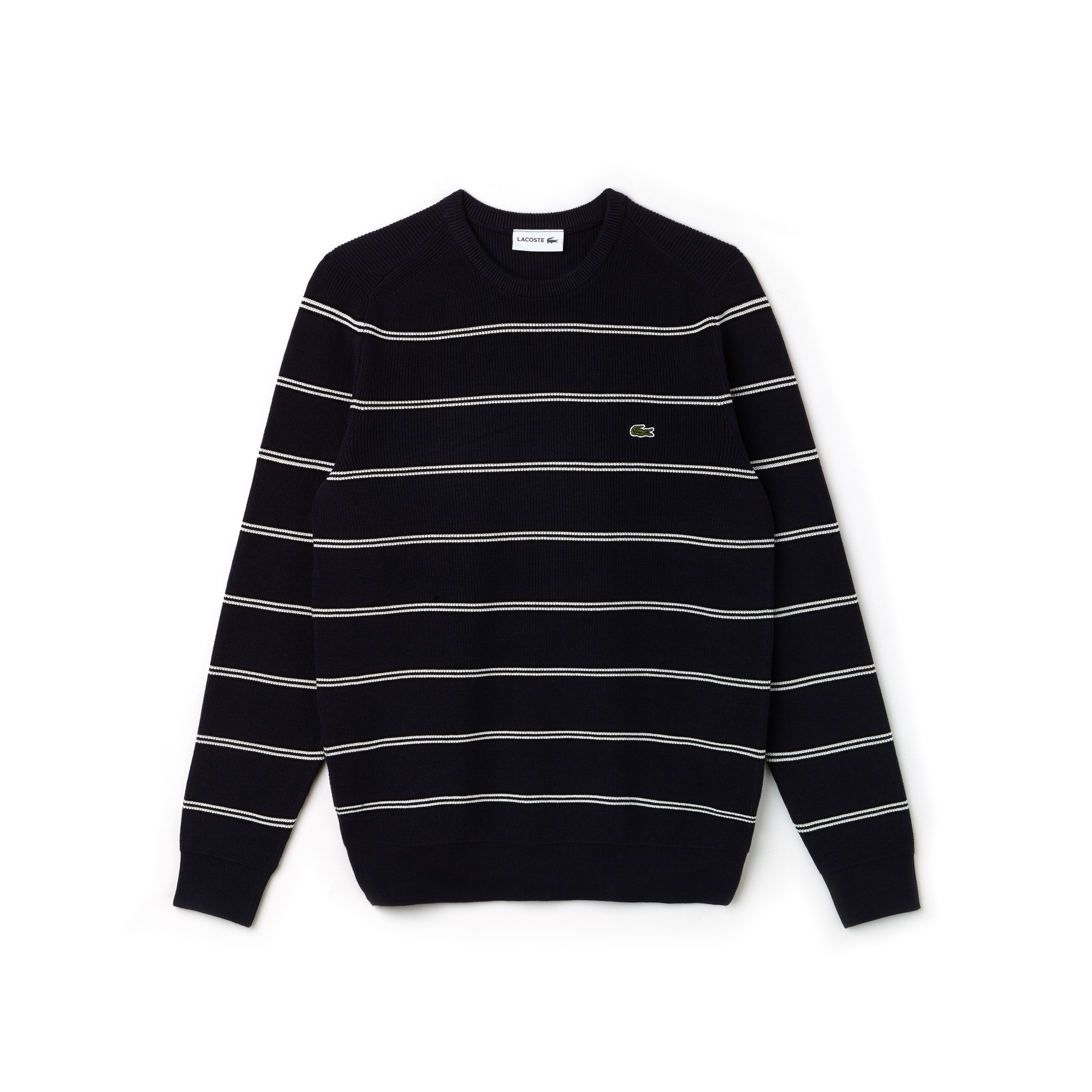 Men's Crew Neck Striped Ribbed Sweater